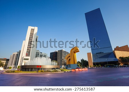 Paseo de la Reforma square in downtown Mexico city - stock photo