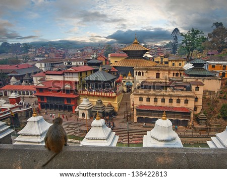 Pashupatinath Temple is one of the most significant Hindu temples of Lord Shiva in the world, located on the banks of the Bagmati River in the eastern part of Kathmandu, the capital of Nepal. - stock photo