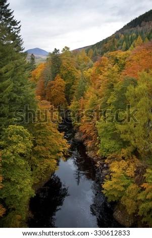 Pass of Killiecrankie Scottish River in Autumn Scottish Landscape  - stock photo