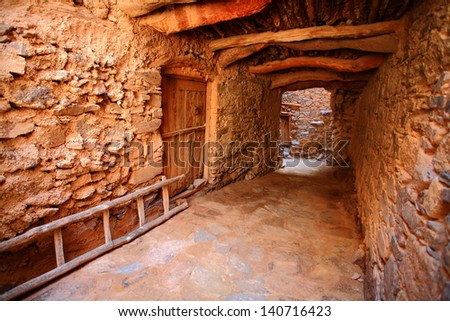 Passage inside fortified town of Tizourgane - Atlas mountains, Morocco - stock photo
