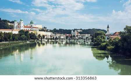 Passau is a town in Lower Bavaria, Germany. It is also known as City of Three Rivers, because the Danube is joined at Passau by the Inn from the south and the Ilz from the north. - stock photo