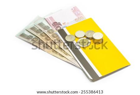 passbook and Thai money on white background. - stock photo