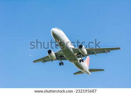 Passenger aircraft flying in the sky - stock photo