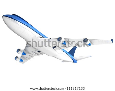 Passenger airplane 3d, isolated on white background - stock photo