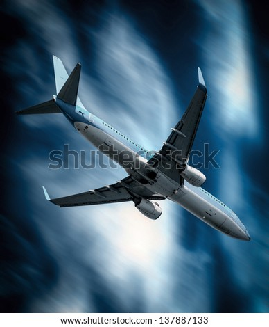 Passenger airplane falling from sky against stormy cloudscape - Crashing plane concept - stock photo