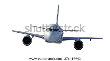 Passenger airplane isolated on white background - stock photo