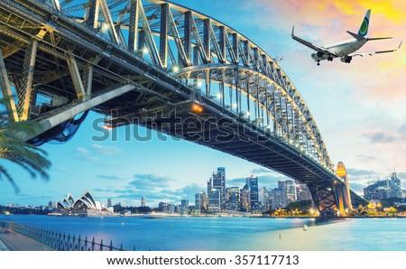 Passenger airplane over Sydney, Australia. Travel concept. - stock photo
