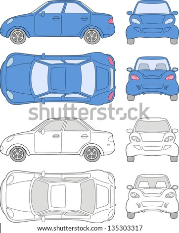Passenger car (colored and outlined top, side, back, front view), isolated on white background - stock photo