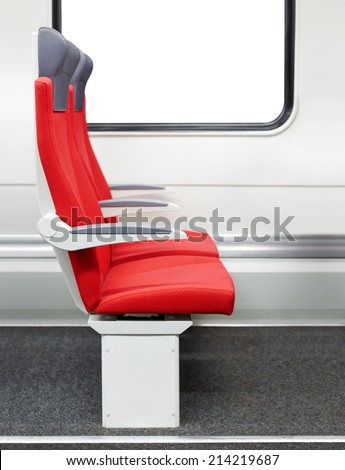 Passenger chairs in a modern train - stock photo