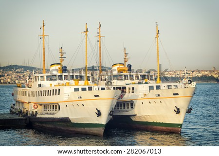 Passenger Ferries Docked At Karakoy Pier, Istanbul, Turkey - stock photo