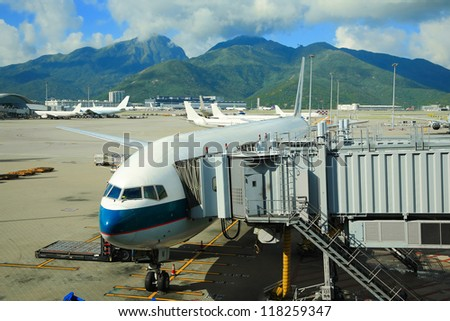 Passenger gate way of AIR plane in Air port. - stock photo