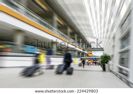 passenger in airport.interior of the airport - stock photo