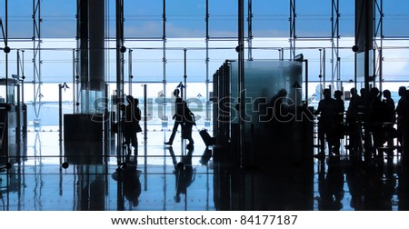 Passenger in the airport. Interior of the airport. - stock photo