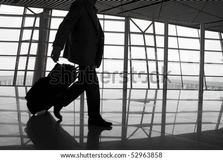 passenger in the Beijing airport - stock photo