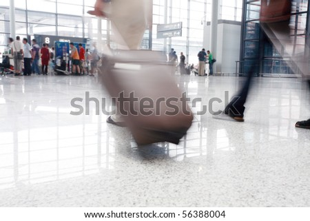 passenger in the interior of the airport - stock photo