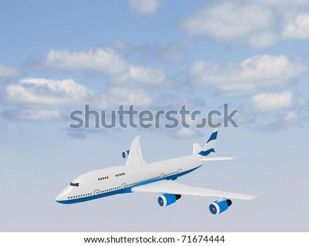 passenger plane flying in sky - stock photo