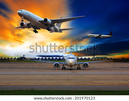 passenger plane in international airport use for air transport and cargo logistic business - stock photo