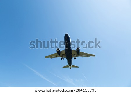 passenger plane take-off from airport - stock photo