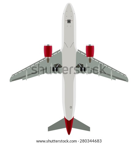 Passenger plane view from below on a white background - stock photo