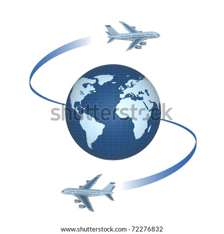 Passenger planes round the globe. Tourist routes worldwide. Blue on the white. - stock photo