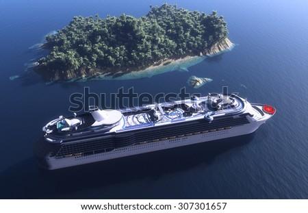 Passenger ship near the island. - stock photo