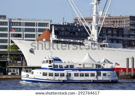 Passenger ship on the river Elbe in Hamburg, Germany - stock photo
