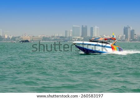 Passenger Speed boat to  Koh larn Island, Pattaya, Thailand - stock photo