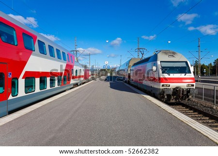 Passenger trains in Helsinki, Finland - stock photo