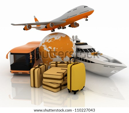 passenger transport for  trip with a globe and luggage - stock photo