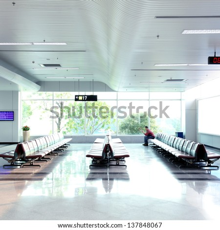 Passenger waiting for the flight - stock photo