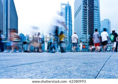 passenger walking on the walkway at shanghai china. - stock photo