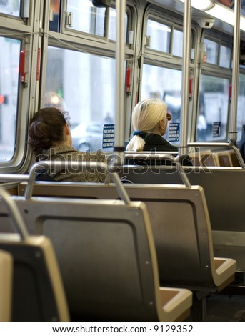 Passengers in a bus - stock photo