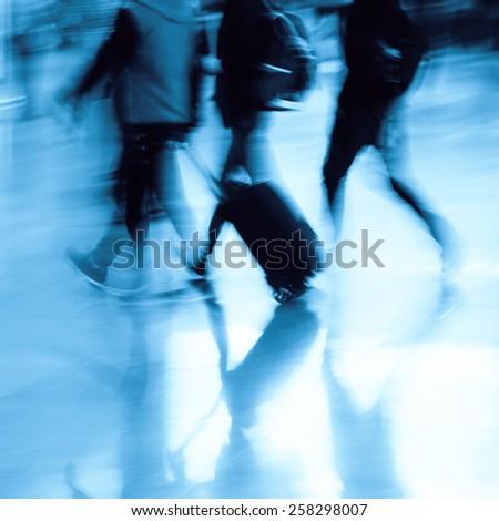 passengers rushing  - stock photo