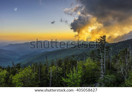 Passing clouds at sunset and gibbous moon, Great Smoky Mountains - stock photo