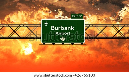 Passing under Burbank Bob Hope USA Airport Highway Sign in a Beautiful Cloudy Sunset 3D Illustration - stock photo