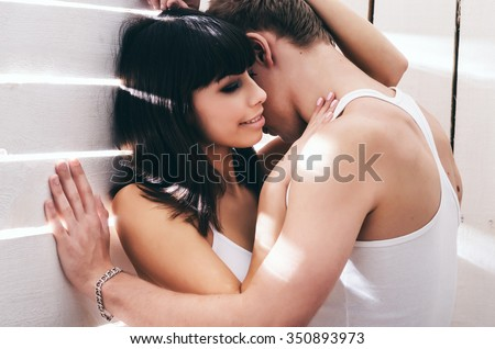 Passion couple in love. Young and happy lovers. - stock photo