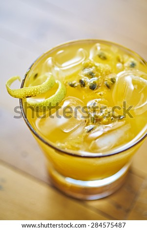 Passion Fruit Caipirinha of Brazil                                - stock photo