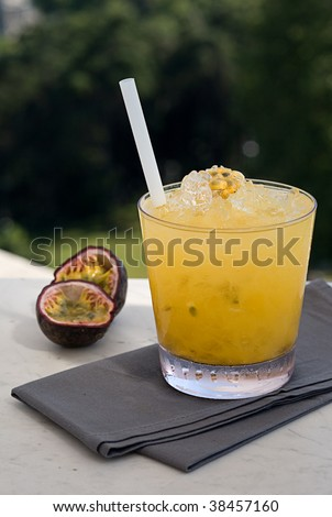 passion fruit cocktail - stock photo