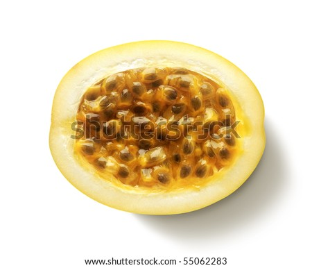 Passion fruit half with seeds - stock photo