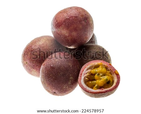 Passion fruit - maracuja isolated on white - stock photo