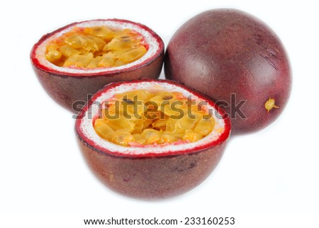 passion fruit maracuya isolated on white - stock photo