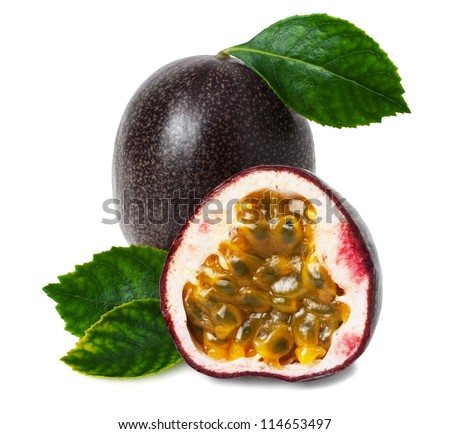 Passion fruit on a white background - stock photo