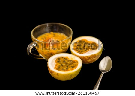 Passion fruit, Passion fruit isolated on white background - stock photo