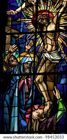 passion of Jesus. Ancient stained glass - stock photo