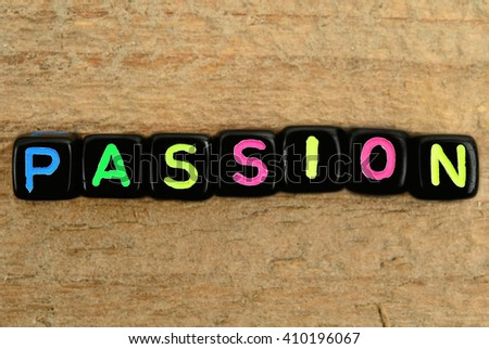 passion word on wooden table - stock photo