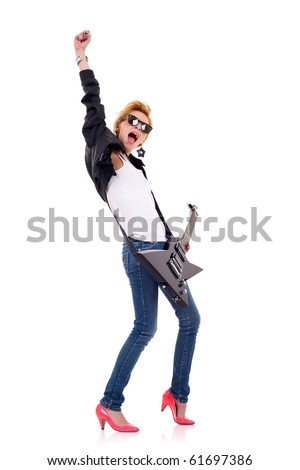 passionate blond woman guitarist playing the guitar with one hand in the air - stock photo