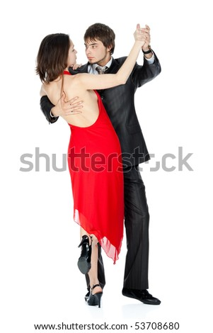 passionate dance couples in love isolated on white - stock photo