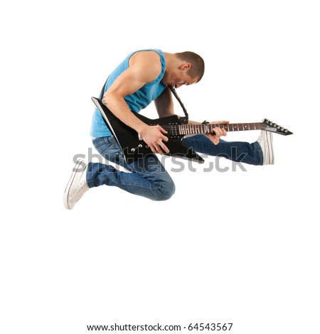 passionate guitarist jumps in the air over white - stock photo