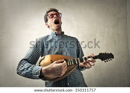 Passionate singer - stock photo