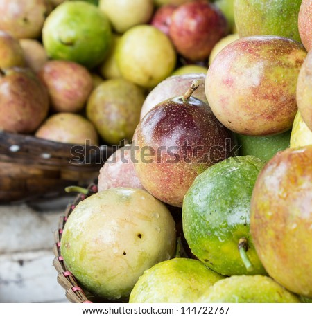 Passionfruit market in Thailand. - stock photo